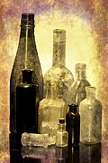 Old Relics Digital Art Prints - Antique Bottles From The Past Print by Phyllis Denton