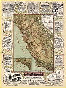 Antique Map Digital Art Posters - Antique California Bicycle Trails Poster by Gary Grayson
