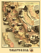 Antique Map Digital Art Posters - Antique California Map Poster by Gary Grayson