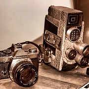 Antique Pyrography Framed Prints - Antique Camera and Video Camera Framed Print by Jeremy  Shusman