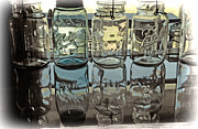 Glass Reflecting Framed Prints - Antique Canning Jars Framed Print by Elaine Walsh