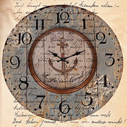 Wine Reflection Art Mixed Media Prints - Antique Clock Anchor Vintage Wallpaper Print by Art World