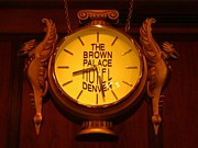 Antique. Jewelry Framed Prints - Antique Clock at the Bown Palace Hotel Framed Print by John Malone