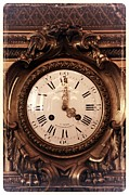 Carol Groenen Framed Prints - Antique Clock in Sepia Framed Print by Carol Groenen