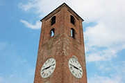 Town Clock Tower Posters - Antique Clock Tower on Blue Sky Background Poster by Kiril Stanchev