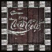 Closeup Coke Sign Prints - Antique Coca Cola Signs Print by John Stephens