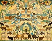 Naive Paintings - Antique Cutout of Animals  by American School