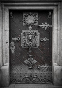 Budvar Prints - Antique doors in Budweis Print by Christine Till