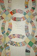 Quilt Art Photos - Antique Double Wedding Ring Quilt by Linda Albonico