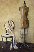 Antique Dress Form And Chair With Vintage Feeling Print by Sandra Cunningham