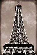 Vintage Eiffel Tower Metal Prints - Antique Eiffel Tower Metal Print by John Rizzuto