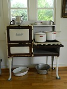 Coal Burner Posters - Antique Estate Stove with Cookware Poster by George Pedro