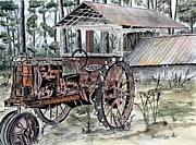 Pen And Ink Rural Framed Prints - Antique Farm Tractor   Framed Print by Derek Mccrea