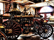 Phila Posters - Antique Fire Engine Poster by Bill Cannon