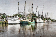 Piers Prints - Antique Fishing Boats Print by Debra and Dave Vanderlaan
