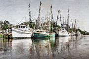 Antique Fishing Boats Print by Debra and Dave Vanderlaan