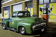 Petrol Green Framed Prints - Antique Ford Pickup Framed Print by Dave Dilli