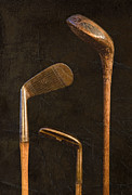 Isolated On Black Background Framed Prints - Antique Golf Clubs Framed Print by Diane Diederich
