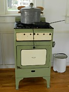 Coal Burner Framed Prints - Antique Green Stove and Pressure Cooker Framed Print by George Pedro