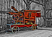 Antique Hay Baler Selective Color Print by Steve Harrington