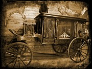Wooden Wagons Posters - Antique Hearse as Tintype Poster by Crystal Loppie