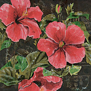 Floral Mixed Media Metal Prints - Antique Hibiscus Black 2 Metal Print by Debbie DeWitt