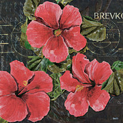 Blossom Prints - Antique Hibiscus Black 3 Print by Debbie DeWitt