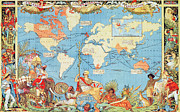 Characters Drawings Posters - Antique Illustrated Map of the World Poster by Anonymous