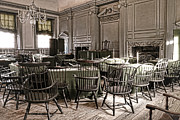 Independence Hall Posters - Antique Independence Hall Poster by Olivier Le Queinec