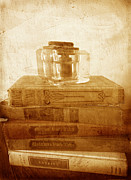 Vintage Books Prints - Antique Inkwell on Old Books vintage style Print by Ann Powell