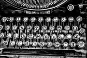 Typewriter Keys Photo Prints - Antique Keyboard - BW Print by Christopher Holmes