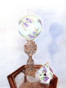 Antique Mixed Media Originals - Antique Lamp and Birdhouse by Linda Ginn