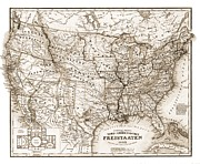 Antique Map 1853 United States Of America Print by Dan Sproul