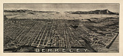 Antique Map Of Berkeley California By Charles Green - Circa 1909 Print by Blue Monocle