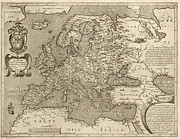 Antique Map Of Europe By Arnoldo Di Arnoldi - Circa 1600 Print by Blue Monocle