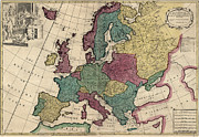 Antique Map Of Europe By John Senex - Circa 1719 Print by Blue Monocle