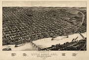 Antique Map Of Little Rock Arkansas By H. Wellge - 1887 Print by Blue Monocle