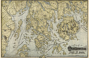 Antique Map Of Mount Desert Island And The Coast Of Maine - Circa 1900 Print by Blue Monocle