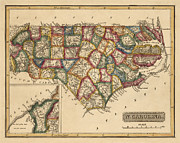 Antique Map Of North Carolina By Fielding Lucas - Circa 1817 Print by Blue Monocle
