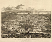 Antique Map Of Philadelphia By John Bachmann - 1857 Print by Blue Monocle