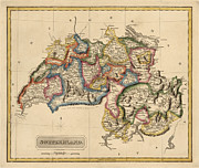 Antique Map Of Switzerland By Fielding Lucas - Circa 1817 Print by Blue Monocle