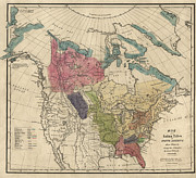 Antique Map Of The Indian Tribes Of North America By Albert Gallatin - 1836 Print by Blue Monocle