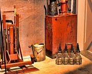 Auto Art Prints - Antique Oil Bottles Print by Paul Ward