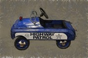 Vintage Police Vehicle Posters - Antique Pedal Car V Poster by Michelle Calkins