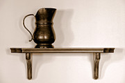 Pitcher Metal Prints - Antique Pewter Pitcher on Old Wood Shelf Metal Print by Olivier Le Queinec