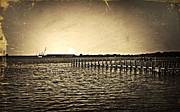 Antique Photo Of Pier  Print by Susan Leggett