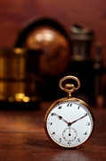 Desk Photo Prints - Antique Pocket Watch Print by Olivier Le Queinec