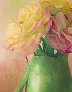 Textured Vase Framed Prints - Antique Roses Framed Print by Theresa Tahara
