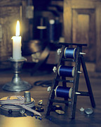 Candle Lit Posters - Antique Sewing Items Poster by Christopher and Amanda Elwell