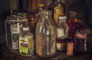 Bottles Posters - Antique store glass bottles Poster by Scott Norris